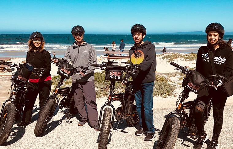 Family of Four on E-Bike Tour