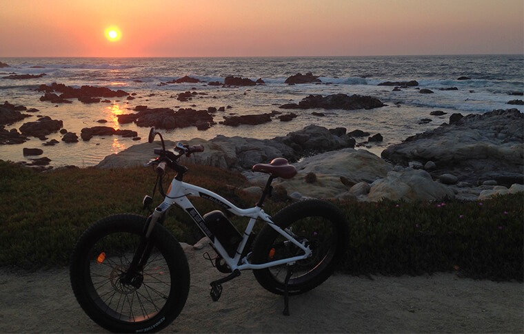 E-Bike on Beach at Sunset